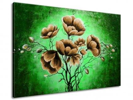 Ručně malovaný obraz Hnědé květiny 120x80cm  100% ručně malovaný