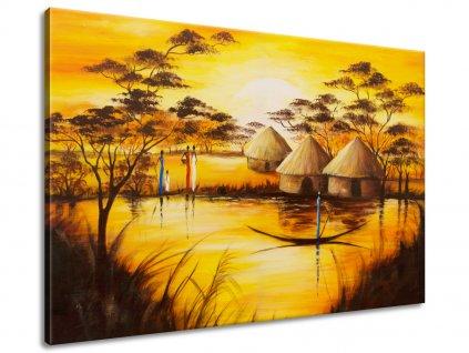 Ručně malovaný obraz Africká vesnice 120x80cm  100% ručně malovaný