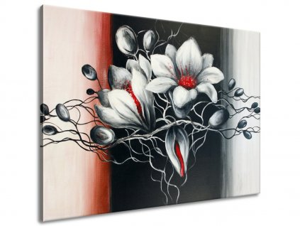 Ručně malovaný obraz Bílá krása  + Dárek