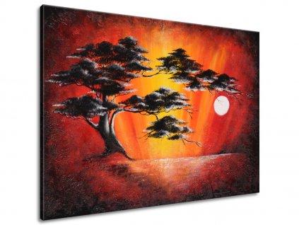 Ručně malovaný obraz Masivní strom při západu slunce  100% ručně malovaný