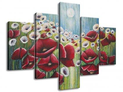Ručně malovaný obraz Máky v světle měsíce 100x70cm  100% ručně malovaný