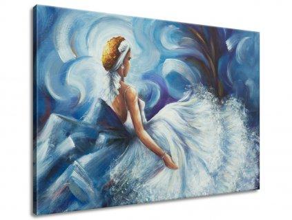 Ručně malovaný obraz Modrá dáma během tance 70x100cm  100% ručně malovaný
