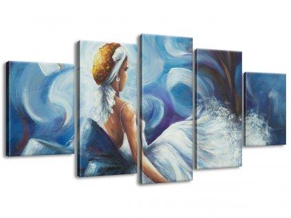 Ručně malovaný obraz Modrá dáma během tance 150x70cm  100% ručně malovaný