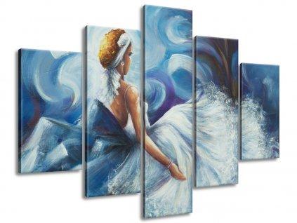 Ručně malovaný obraz Modrá dáma během tance 150x105cm  100% ručně malovaný