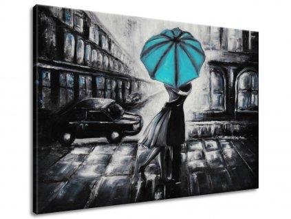 Ručně malovaný obraz Tyrkysový polibek v dešti  100% ručně malovaný
