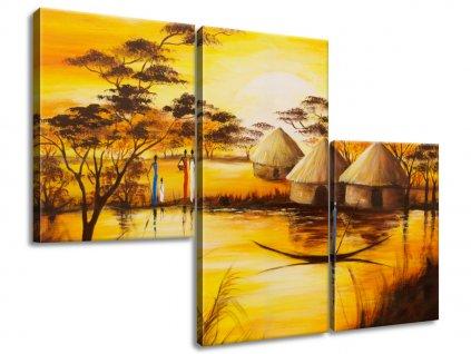 Obraz na plátně Africká vesnice 90x60cm  Tištěný v HD