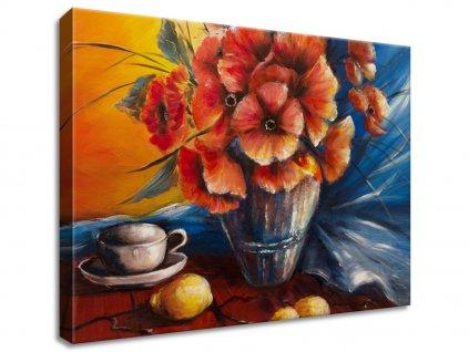 Obraz na plátně Váza s vlčím mákem na stole  Tištěný v HD