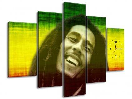 Obraz s hodinami Bob Marley 150x70cm  Tištěný v HD