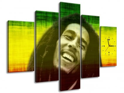 Obraz s hodinami Bob Marley 150x105cm  Tištěný v HD