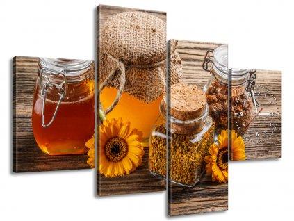 Obraz s hodinami Včelí med 120x70cm  Tištěný v HD