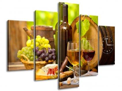 Obraz s hodinami Červené a bílé víno 150x105cm  + Dárek