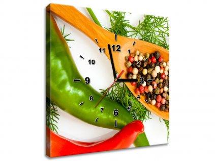 Obraz s hodinami Barevné koření  + Dárek
