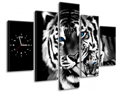 Obraz s hodinami Tygři jako malovaní 150x70cm  + Dárek