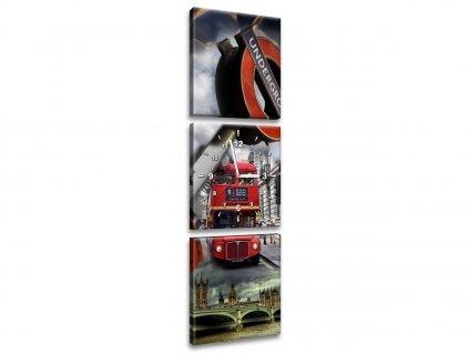 Obraz s hodinami Abstraktní Londýn 30x90cm  Tištěný v HD