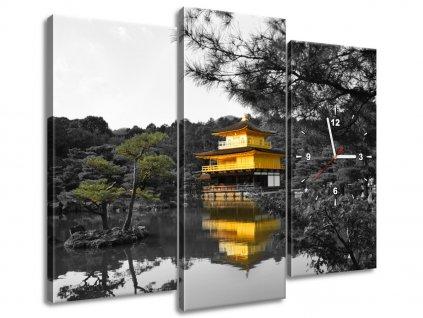 Obraz s hodinami Dům a bonsai - Mith Huang 90x70cm  Tištěný v HD