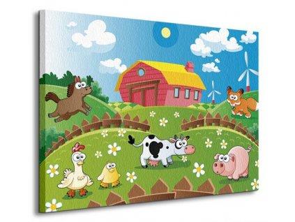 Obraz na plátně Farma a zvířátka Ddraw 80x60cm  Tištěný v HD