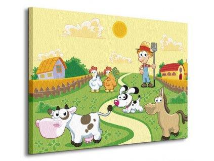 Obraz na plátně Farmář a zvířátka Ddraw 80x60cm  Tištěný v HD