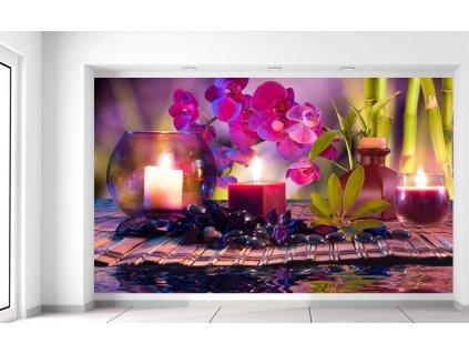 Fotótapéta Stílusos kompozíció Orchidea és relax  Extra súly és vastagság (180-212g/m2 és 100um)