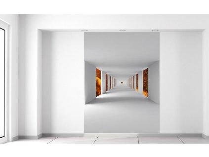 Fotótapéta Folyosó és lángoló űr  Extra súly és vastagság (180-212g/m2 és 100um)