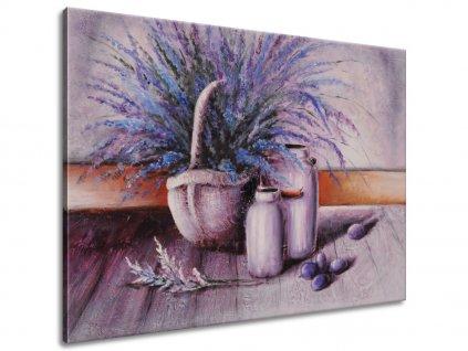 Kézzel festett kép Levendulák kosárban  + Ajándék