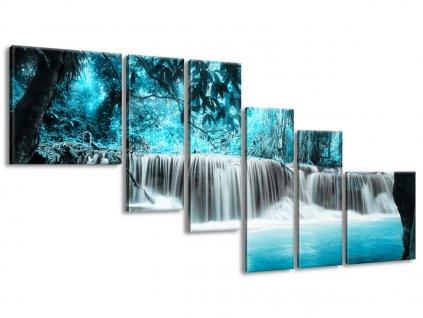 Vászonkép Vízesés a kék dzsungelben 220x100cm  HD nyomtatás