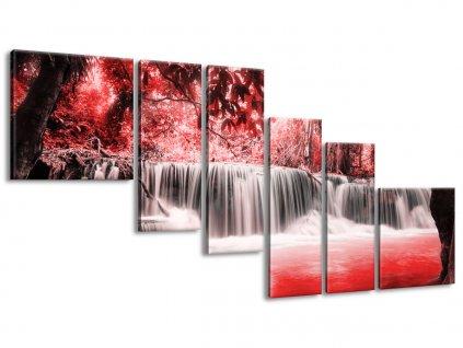 Vászonkép Vízesés a vörös dzungelben 220x100cm  HD nyomtatás