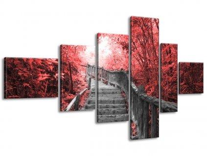 Vászonkép Lépcső a vörös erdöben 180x100cm  + Ajándék