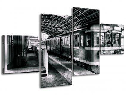 Vászonkép Személyvonat az állomáson 160x90cm  HD nyomtatás