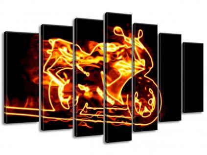 Vászonkép Tüzes motorkerékpár 140x80cm  + Ajándék