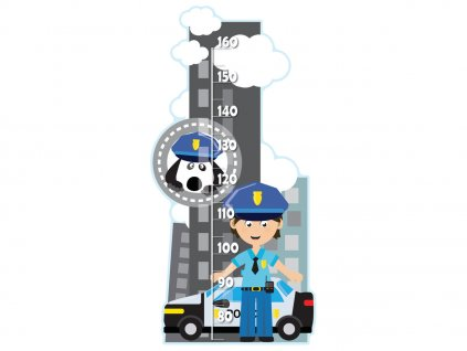 Magasságmérő Rendőr és kiskutya 50x100cm  + Ajándék