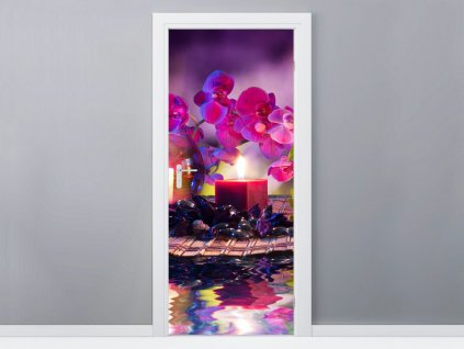 Öntapadó ajtómatrica Stílusos kompozíció Orchidea és relax 95x205cm  + Ajándék