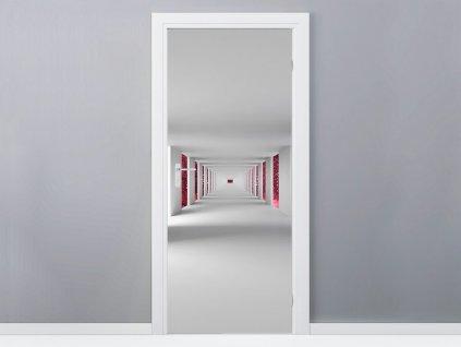 Öntapadó ajtómatrica Folyosó és piros galaxis 95x205cm  + Ajándék