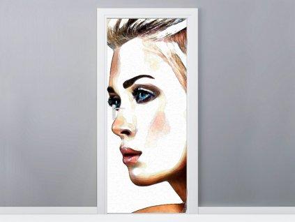 Öntapadó ajtómatrica Gyönyörű nő 95x205cm  + Ajándék