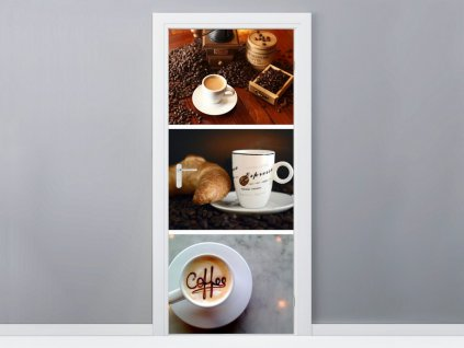 Öntapadó ajtómatrica Kávéínyencségek 95x205cm  + Ajándék