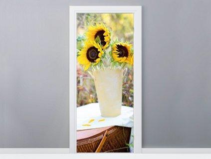 Öntapadó ajtómatrica Napraforgók a vázában 95x205cm  + Ajándék