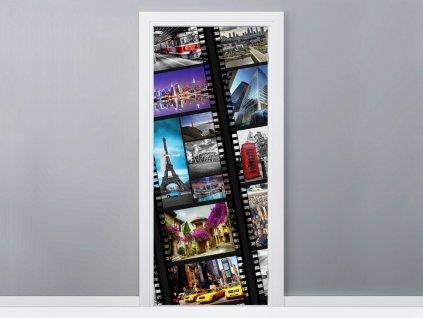 Öntapadó ajtómatrica Világvárosok filmen 95x205cm  + Ajándék