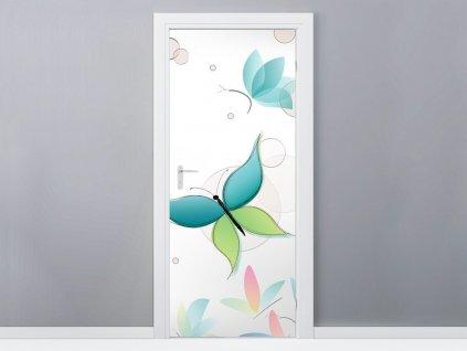 Öntapadó ajtómatrica Gyönyörű pasztell lepkék 95x205cm  Extra vastagság (100um)
