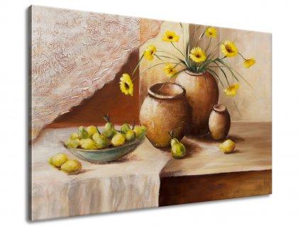 Kézzel festett kép Sárga virágok a vázában 70x100cm  + Ajándék