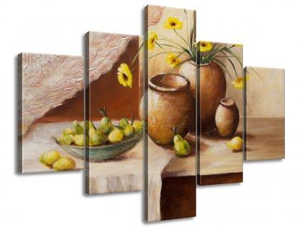 Kézzel festett kép Sárga virágok a vázában 100x70cm  + Ajándék
