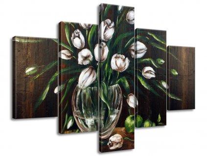 Kézzel festett kép Festet tulipánok 100x70cm  + Ajándék