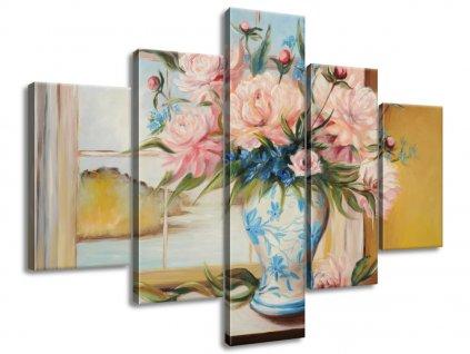 Kézzel festett kép Színes virágok vázában 100x70cm  + Ajándék