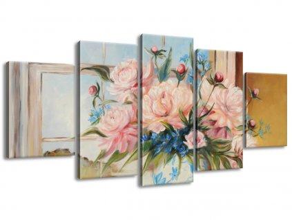 Kézzel festett kép Színes virágok vázában 150x70cm  + Ajándék