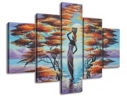Kézzel festett kép Afrikai nő kosárral 100x70cm  + Ajándék
