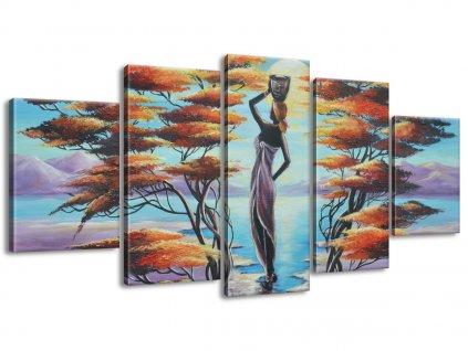 Kézzel festett kép Afrikai nő kosárral 150x70cm  + Ajándék