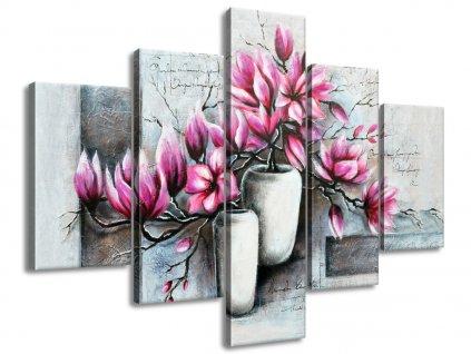 Kézzel festett kép Rózsaszín magnóliák a vázában 100x70cm  + Ajándék