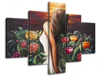 Kézzel festett kép Nő a virágok között 100x70cm  + Ajándék