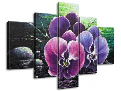 Kézzel festett kép Orchidea a pataknál 100x70cm  + Ajándék