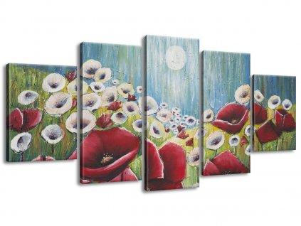 Kézzel festett kép Pipacsok a holdfényben 150x70cm  + Ajándék