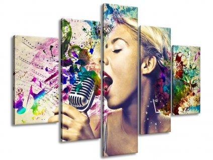 Órás falikép Vintage énekesnő 150x105cm  + Ajándék