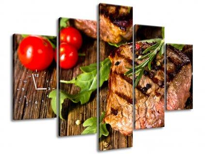 Órás falikép Grillezett marha steak 150x105cm  + Ajándék